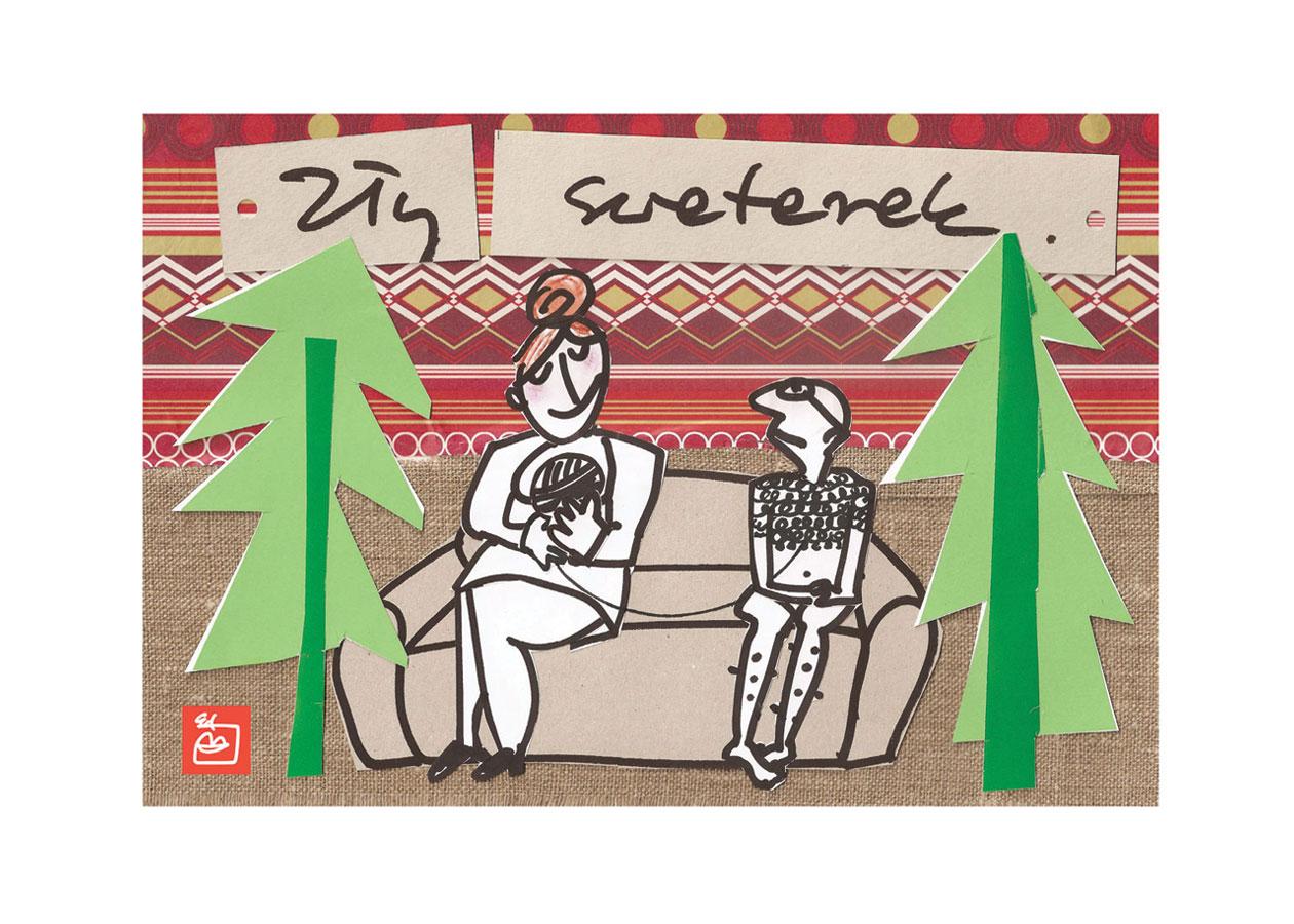 kartka świąteczna Niedobry sweter