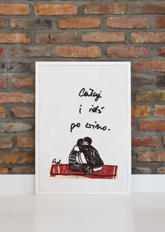 plakat pocałuj mnie i leć po wino